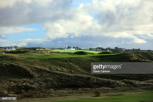 Polarising filter used in this image A view of the 230 yards par 3 16th hole 'Calamity' on the Dunluce Course at Royal Portrush Golf Club the host...