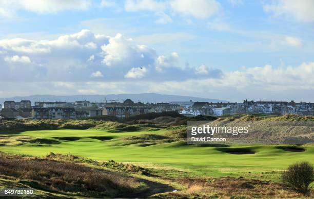 Polarising filter used in this image A view of the 465 yards par 4 18th hole on the Dunluce Course at Royal Portrush Golf Club the host club for the...