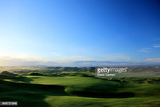Polarising filter used in this image A view of the green on the 230 yards par 3 16th hole on the Dunluce Course at Royal Portrush Golf Club the host...