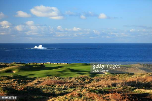 Polarising filter used in this image A view of the green on the 403 yards par 4 fifth hole on the Dunluce Course at Royal Portrush Golf Club the host...