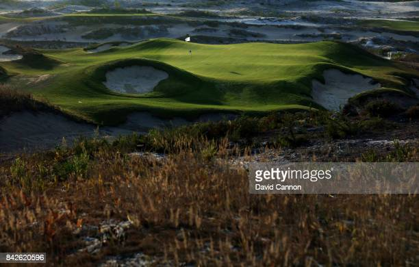 polarising filter used in this image The 140 metres par 3 second hole on the West Cliffs Golf Links Course on Portugal's Silver Coast designed by...