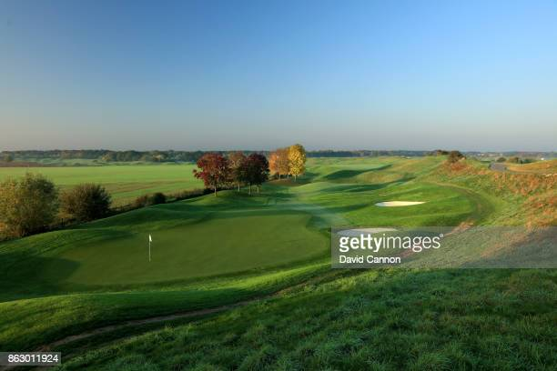 Polarising filter used on the camera in this image A view from behind the green on the 479 yards par 4 seventh hole on the Albatross Course at Le...