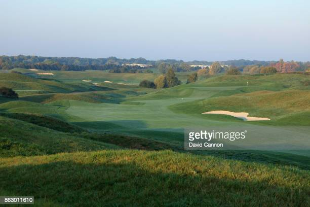 Polarising filter used on the camera in this image The 440 yards par 4 12th hole on the Albatross Course at Le Golf National the host venue for the...