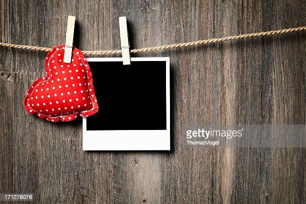Polaroidand Heart on Clothesline
