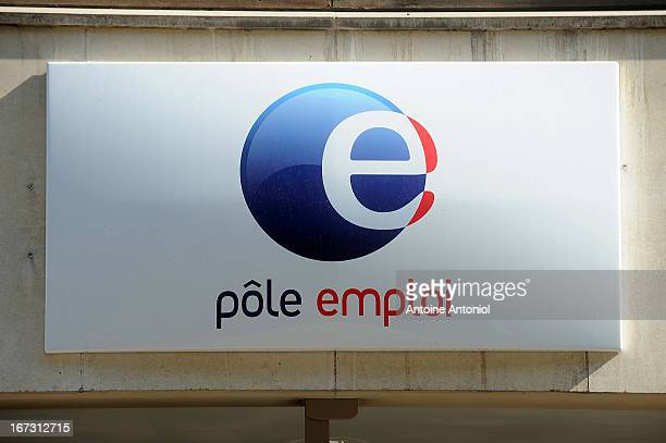 Pole Emploi logo is seen outside of an employment agency on April 24 2013 in Vincennes France French unemployment keeps rising and the number of...