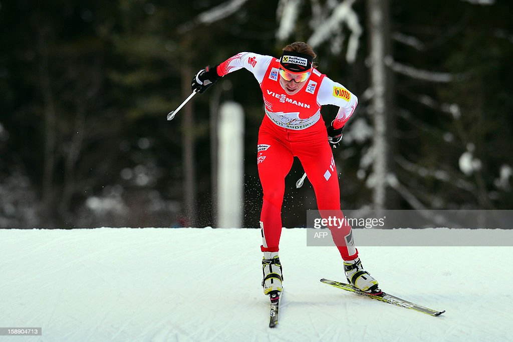 Pole Justyna Kowalczyk competes during the women's Tour de Ski , Stage four, 15km free pursuit in Toblach on January 3, 2013. Kowalczyk won ahead of Charlotte Kalla of Sweden and Therese Johaug of Norway.