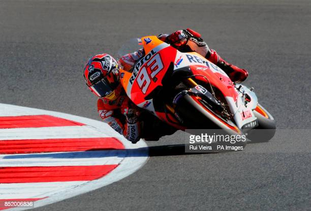 Pole position for Honda's Marc Marquez during qualifying at Silverstone Northamptonshire