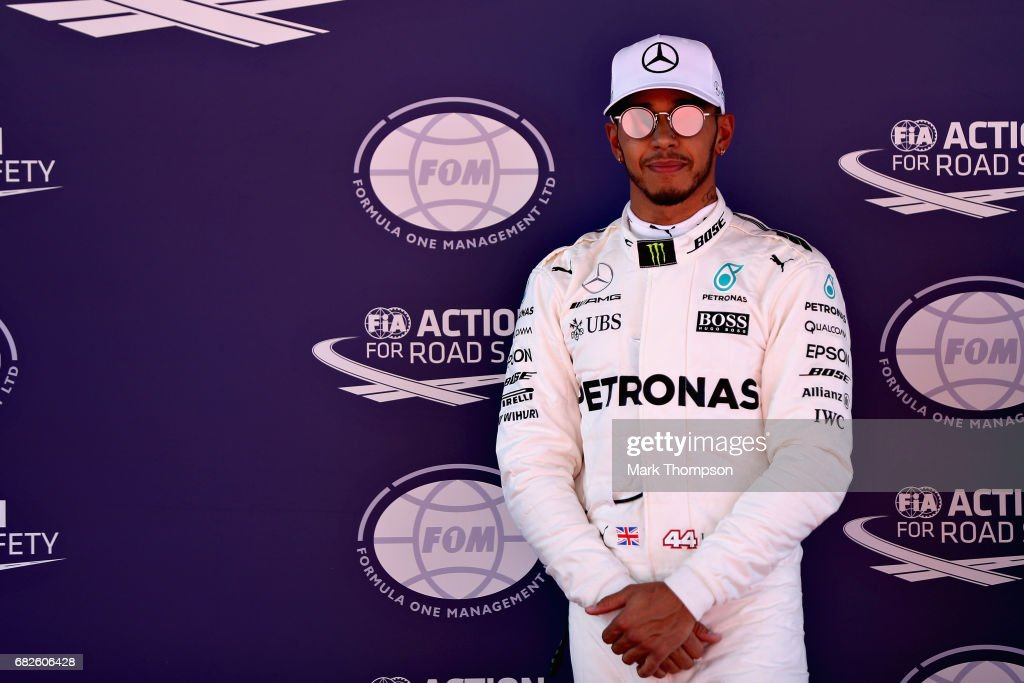 Pole position qualifier Lewis Hamilton of Great Britain and Mercedes GP in parc ferme during qualifying for the Spanish Formula One Grand Prix at Circuit de Catalunya on May 13, 2017 in Montmelo, Spain.