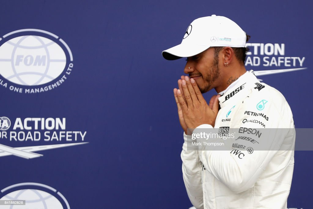 Pole position qualifier Lewis Hamilton of Great Britain and Mercedes GP celebrates during qualifying for the Formula One Grand Prix of Italy at Autodromo di Monza on September 2, 2017 in Monza, Italy.