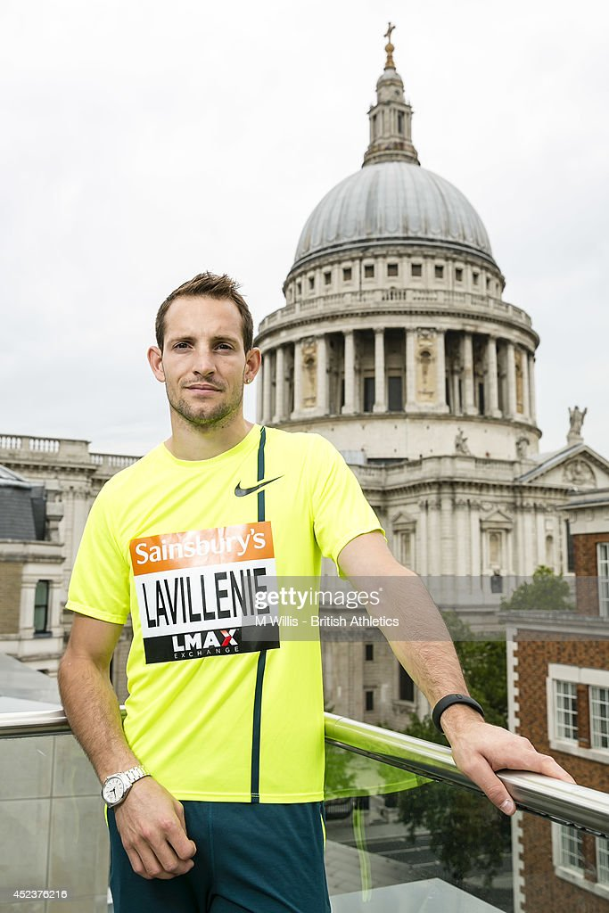 Pole vault world record holder and Olympic champion <a gi-track='captionPersonalityLinkClicked' href=/galleries/search?phrase=Renaud+Lavillenie&family=editorial&specificpeople=4955096 ng-click='$event.stopPropagation()'>Renaud Lavillenie</a> of France during a photocall to promote the Sainsbury's Anniversary Games at Grange St Paul's Hotel, on July 19, 2014 in London, England.