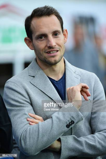 Pole vault world record holder Renaud Lavillenie who is from ClermontFerrand during the European Rugby Champions Cup match between Clermont Auvergne...