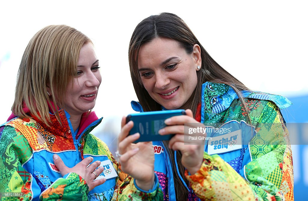 Pole vaulter and Mayor of the Olympic Village Yelena Isinbayeva (R) of Russia visits the Olympic Park ahead of the Sochi 2014 Winter Olympics on February 6, 2014 in Sochi, Russia.