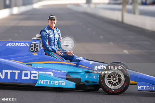 Pole winner Scott Dixon holding his trophy during the Front Row Photo Shoot for the 101st Indianapolis on May 22 at the Indianapolis Motor Speedway...
