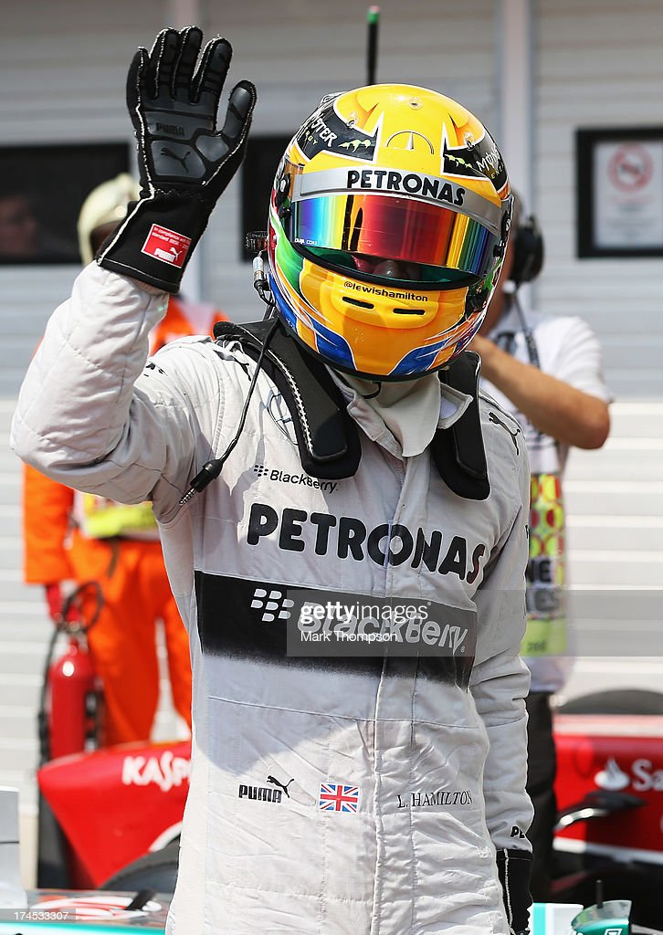 Polesitter <a gi-track='captionPersonalityLinkClicked' href=/galleries/search?phrase=Lewis+Hamilton&family=editorial&specificpeople=586983 ng-click='$event.stopPropagation()'>Lewis Hamilton</a> of Great Britain and Mercedes GP reacts following qualifying for the Hungarian Formula One Grand Prix at Hungaroring on July 27, 2013 in Budapest, Hungary.