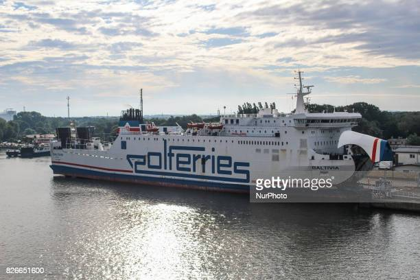 Polferries ferry sitting at the Swinoujscie ferry terminal in Swinoujscie port is seen on 30 July 2017 in Swinoujscie Poland