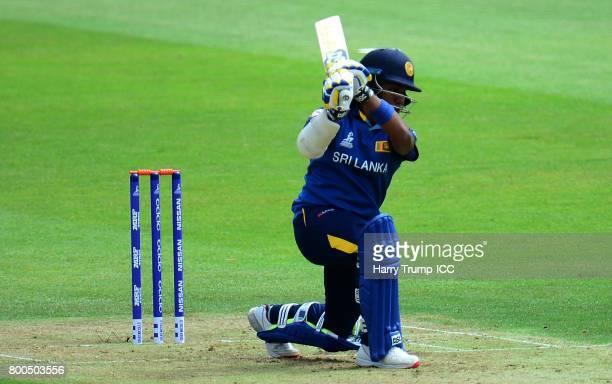 Polgampola Kumarihami of Sri Lanka bats during the ICC Women's World Cup 2017 match between New Zealand and Sri Lanka at the Brightside Ground on...