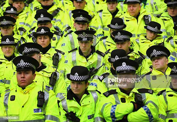 Police a briefed prior to the Clydesdale Bank Premier League match between Celtic and Rangers at Celtic Park on February 20 2011 in Glasgow Scotland