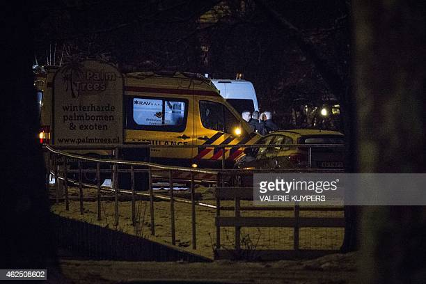 Police and ambulance search the home of a 19yearold man in Pijnacker near The Hague on January 30 after armed with a fake gun he disrupted the Dutch...