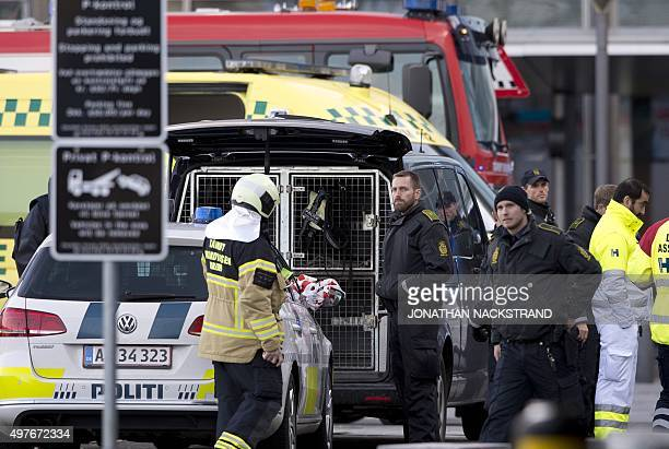 Police and bomb squad are pictured at Kastrup airport in Copenhagen on November 18 2015 Danish police evacuated one of two terminals at Copenhagen's...