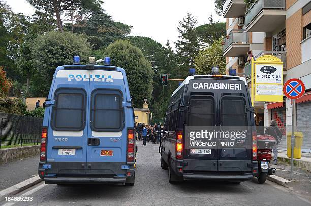 Police and carabinieri vehciles on the street during the funeral of Nazi war criminal Erich Priebke in Albano Laziale near Rome on October 15 2013...