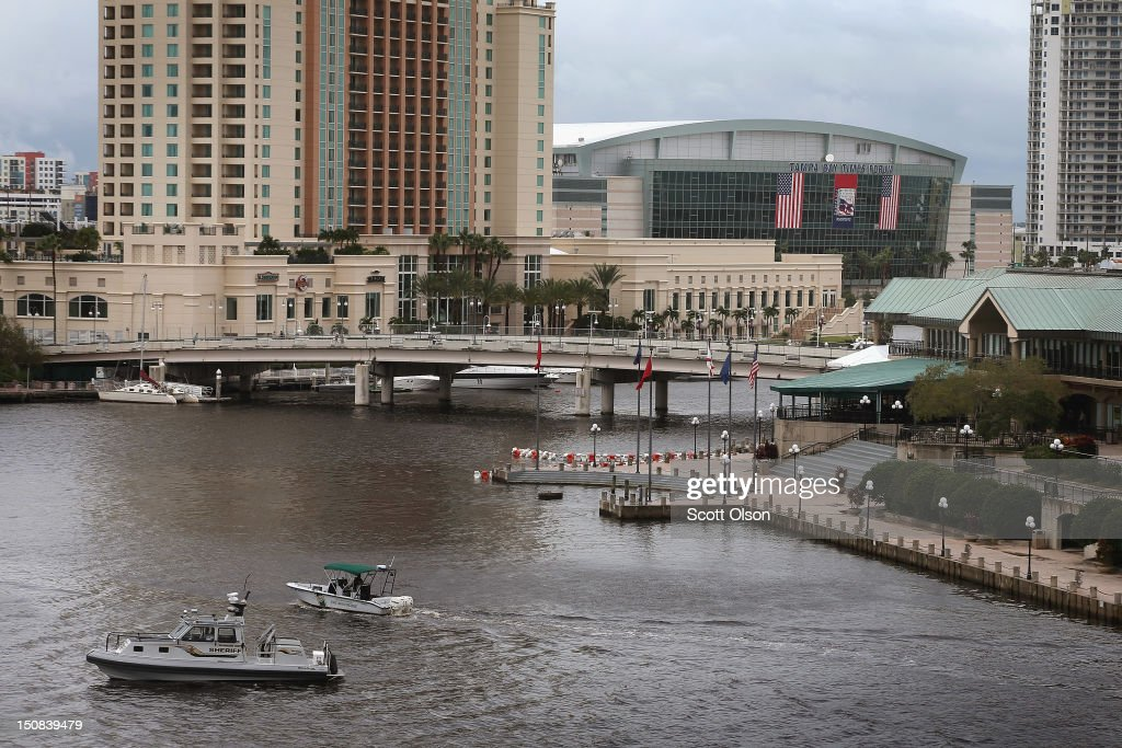 Police and Coast Guard boats patrol the waterways near the Tampa Bay Times Forum during the Republican National Convention on August 27, 2012 in Tampa, Florida. The RNC convened today, but will hold its first full session tomorrow after being delayed due to Tropical Storm Isaac.