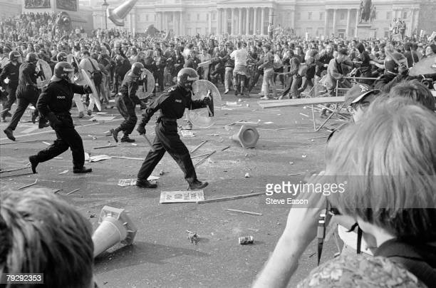 Police and demonstrators clash in Trafalgar Square during rioting which arose from a demonstration against the Poll Tax and became known as the...
