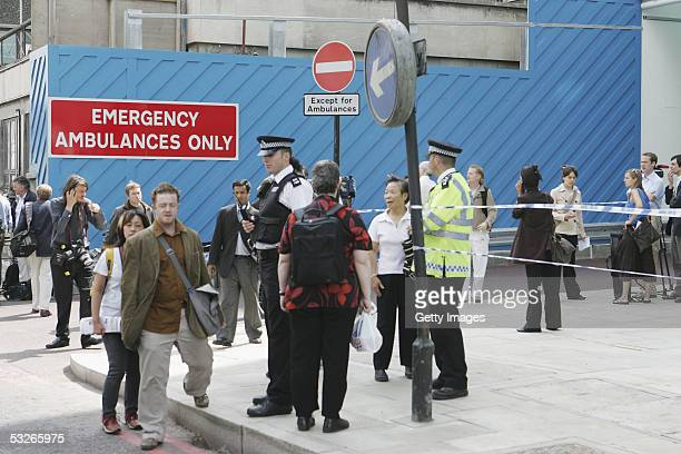 Police and Emergency services are seen by the Euston Underpass and to the rear of the UCL hospital having closed the surrounding roads on July 21...