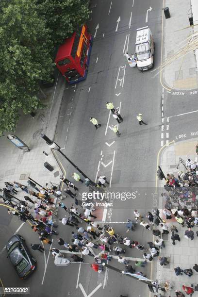 Police and Emergency services are seen on Tottenham Court Road having sealed off the area on July 21 2005 in London Three London underground train...