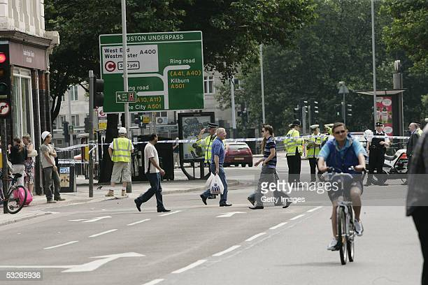 Police and Emergency services are seen on Tottenham Court Road near Warren Street having sealed off the area on July 21 2005 in London Three London...