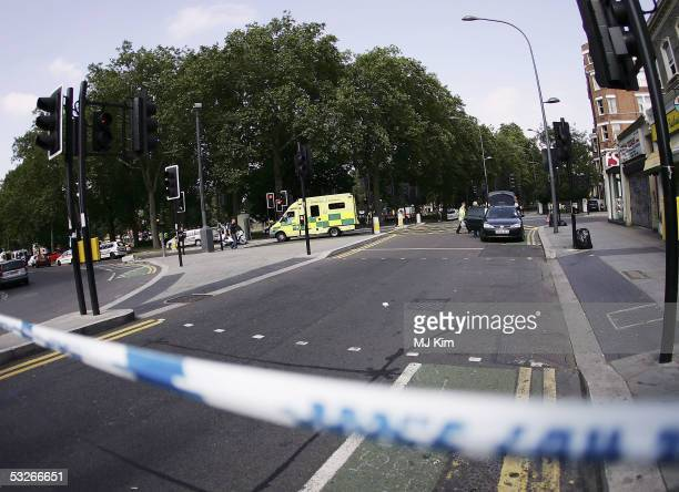 Police and Emergency services are seen outside Shepherd's Bush undergournd station on July 21 2005 in London Three London underground train stations...
