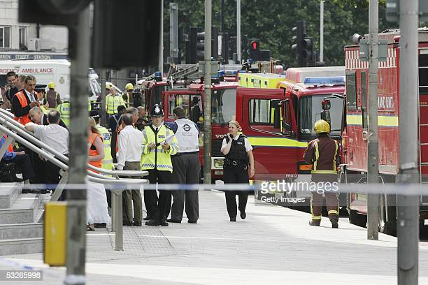 Police and Emergency services are seen outside UCL hospital having sealed off the area follwoing suspected bobm attacks in the area on July 21 2005...