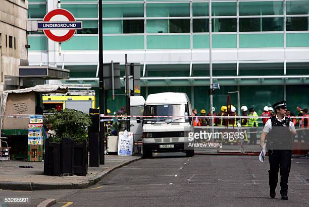 Police and Emergency services are seen outside Warren Street Underground Station July 21 2005 in London Three London underground train stations have...