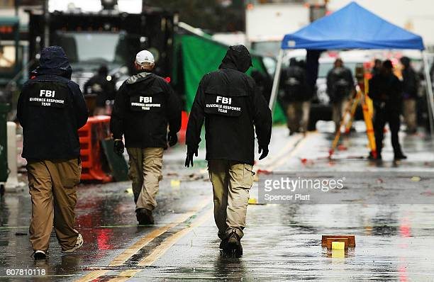 Police and FBI members continue to search the area around the scene of a bombing in the Chelsea neighborhood of Manhattan last Saturday night on...