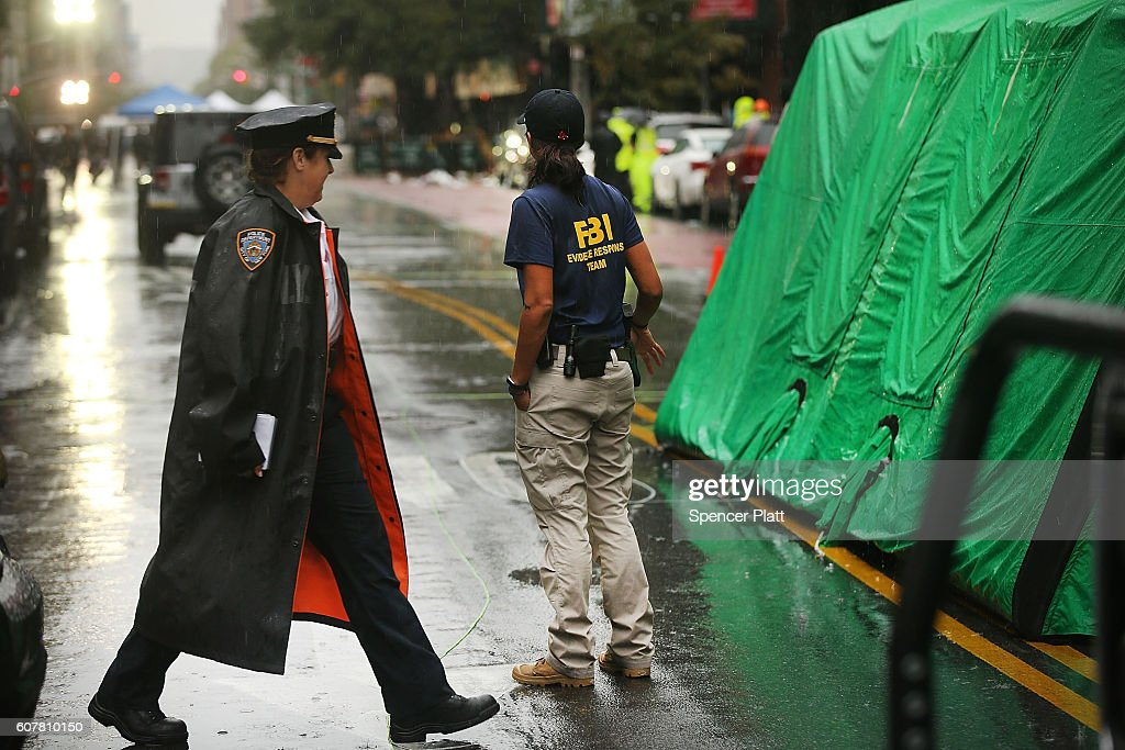 Police and FBI members continue to search the area around the scene of a bombing in the Chelsea neighborhood of Manhattan last Saturday night on September 19, 2016 in New York City. Ahmad Khan Rahami, the man believed to be responsible for the explosion in Manhattan on Saturday night and an earlier bombing in New Jersey was taken into custody on Monday afternoon following a gunfight where he was wounded by police in Linden, New Jersey.