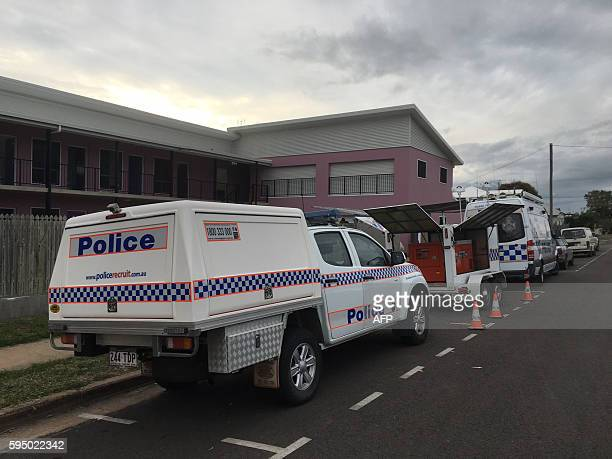 Police and forensic vehicles are seen outside the hostel where British backpacker Mia AyliffeChung was stabbed multiple times and killed on August 23...
