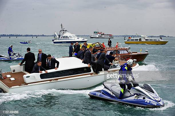 Police and heavy security accompany the power boat of Israeli President Shimon Peres in St Mark's Basin after visiting the Venice Biennale on June 3...