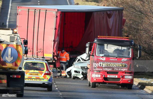 Police and recovery vehicles at the scene where a lorry driver has died as his HGV toppled on to a number of cars on the A801 in West Lothian as the...