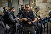 Police and security forces stand guard on October 15 2015 in Jerusalem Israel After a wave of Palenstinian attacks Prime Minister Benjamin Netanyahu...