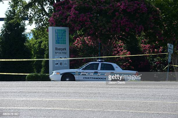 Police and State Troopers block entrances to the TN Naval Reserve Center July 16 2015 in Chattanooga Tennessee According to published reports...