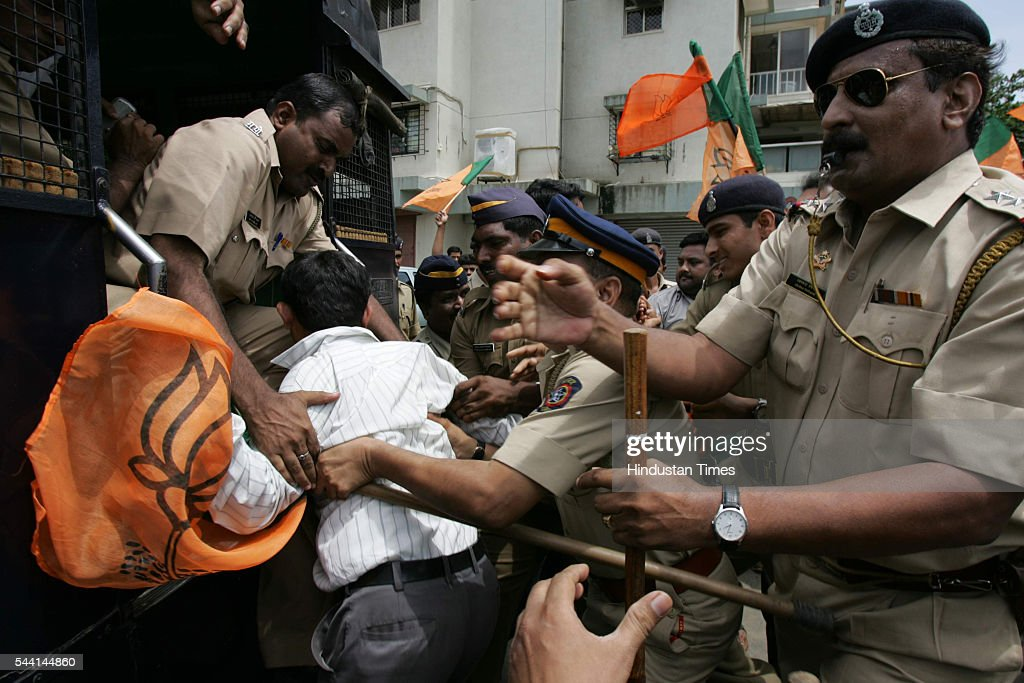 Police arrest activists of BJP's youth wing outside Salman Khan's residence after the protest.
