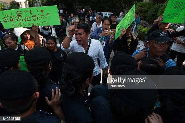 Police arrest protesters against a coalfired power plant project in Krabi at Government House in Bangkok Thailand on February 18 2017 Thai...