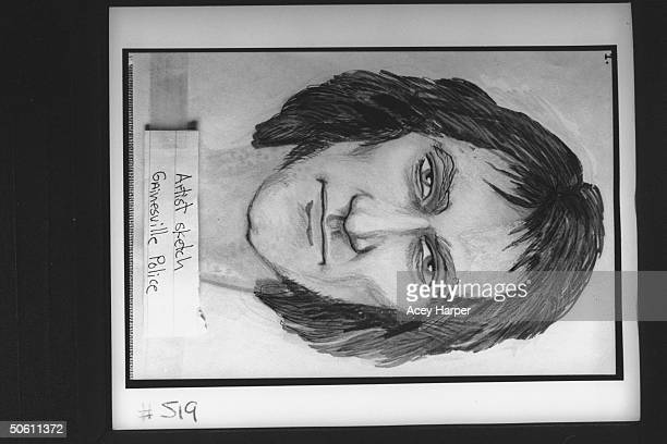 Police artist's portrait sketch of the Gentle Rapist a serial rapist who assaulted over 60 women during the '70s in the Gainesville Miami areas yrs...