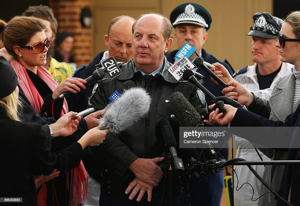 Police Assistant Commisioner Denis Clifford talks to media outside the Blue Mountains Hospital on July 15, 2009 in Katoomba, Australia. Missing backpacker Jamie Neale was found earlier today after surviving 12 days lost in the bush near Katoomba suffering from only dehydration and exposure.
