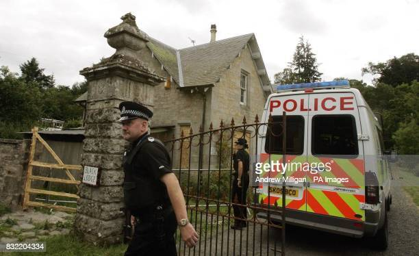 Police at Black Lodge in the Scottish Borders where Christopher 'Pascal' Norris who is believed to have died of anthrax lived alone The house has...