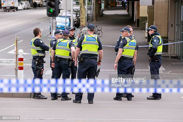 Police at Bourke Street Mall in the CBD on January 21 2017 in Melbourne Australia Four people were killed and 30 are injured after a man deliberately...