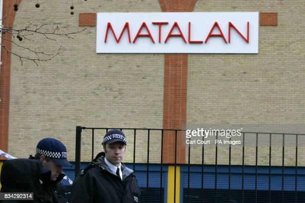 Police at the Matalan store in the Kingsland Centre Dalston east London where 33 year old Jamie Simpson an assistant manager was stabbed to death...