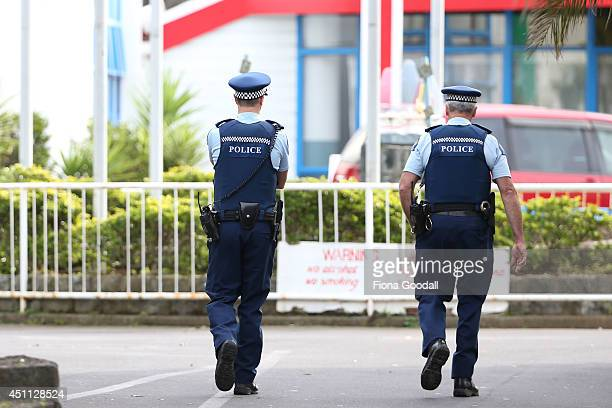 Police at the scene at Pacific Christian School in Mangere Bridge on June 24 2014 in Auckland New Zealand A boy aged about 10 is in a critical...