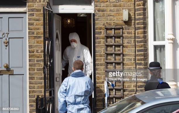 Police at the scene in Eastway Hackney east London where a teenage girl named as Shereka Marsh died after a shooting yesterday as two 16yearold boys...