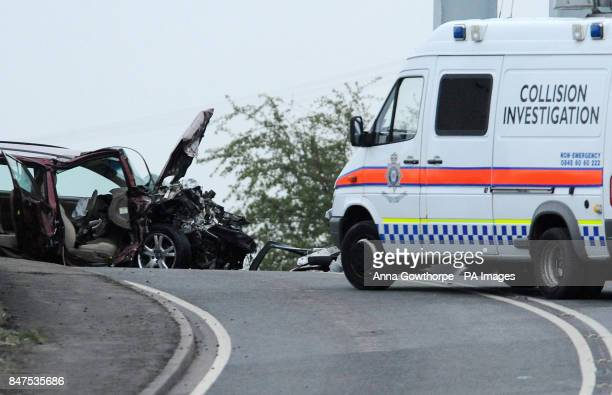 Police at the scene of a fatal car crash on the A614 close to the village of East Cowick near Goole East Yorkshire where three people died and two...