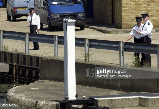 Police at Tottenham Lock on the River Lea in Tottenham north London where Police looking for Andrea Auriglietti recovered a body of a child from the...